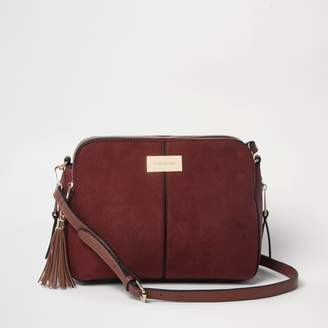 River Island Womens Rust Red triple compartment cross body bag