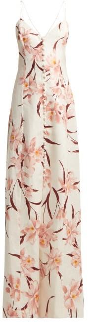 Corsage Floral Print Linen Dress - Womens - Cream Print