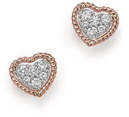Bloomingdale's Diamond Pavé Heart Stud Earrings in 14K Rose Gold, .20 ct. t.w.