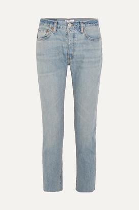RE/DONE Originals Relaxed Crop Frayed Slim Boyfriend Jeans - Light denim