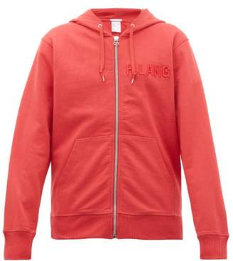 Helmut Lang Logo Embroidered Cotton Hooded Sweatshirt - Mens - Red