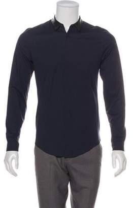 Juun.J Leather-Trimmed Button-Up Shirt navy Leather-Trimmed Button-Up Shirt