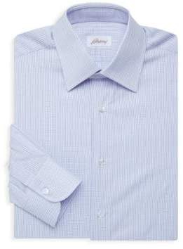 Brioni Mini Check Long-Sleeve Dress Shirt