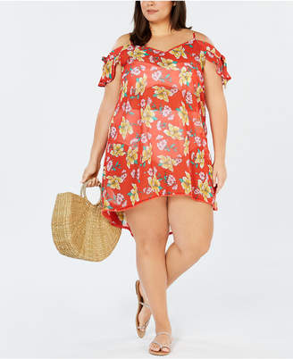 Miken Plus Size Juniors' Cold-Shoulder Cover-Up