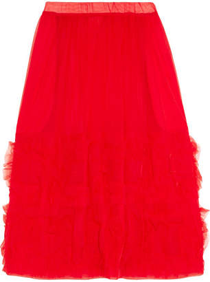 Ruffled Organza Midi Skirt - Red