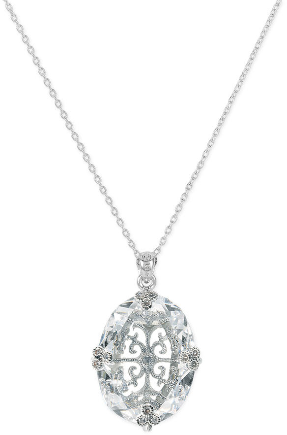 Nadri Large Caged Crystal Pendant Necklace