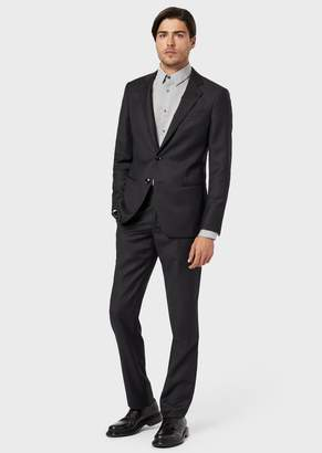 Giorgio Armani Slim-Fit, Half Canvas Suit From The Soho Range With Natural Stretch Effect