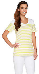 C. Wonder Short Sleeve Striped Knit T-Shirt w/Pocket