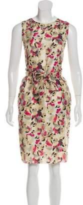 Marni Silk Tie-Accented Dress Beige Silk Tie-Accented Dress