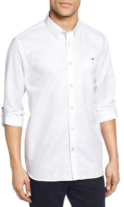 Men's Ted Baker London Laavato Extra Trim Fit Linen & Cotton Roll Sleeve Sport Shirt $159 thestylecure.com