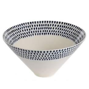 Nkuku Indigo Drop Serving Bowl - Large - White/Black