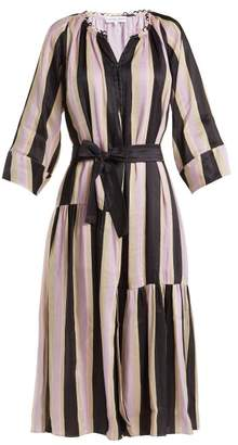 Apiece Apart Stella Silk Blend Maxi Shirtdress - Womens - Purple Stripe