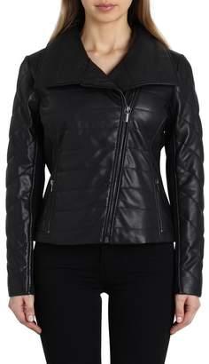 Badgley Mischka Envelope Collar Quilted Leather Biker Jacket