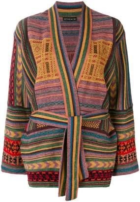 Etro multi-pattern belted cardigan