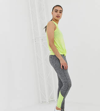 New Look gym leggings with neon detail in grey