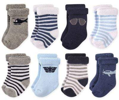 8-Pack Aviator Terry Rolled Cuff Socks