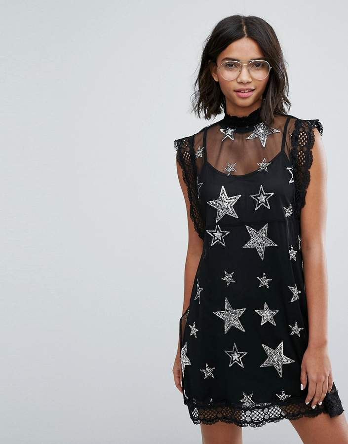 sister jane Sister Jane Mesh Dress With Sequin And Beaded Star Patches