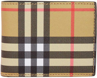 Burberry Beige and Black Vintage Check Hipfold Wallet