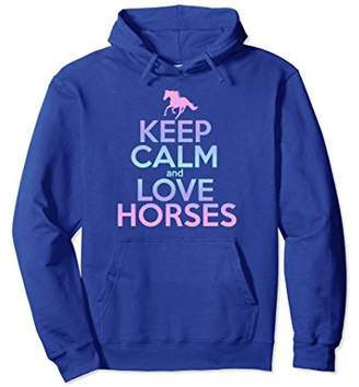 Horse Riding Hoodie Keep Calm Love Horses Women Girl Gift