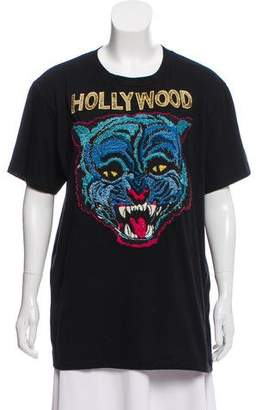 Gucci 2017 Angry Cat Appliqué T-Shirt