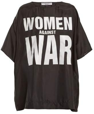 Katharine Hamnett Women Against War Print Silk T Shirt - Womens - Black