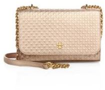 Tory Burch Marion Embossed Metallic Leather Chain Crossbody Bag $295 thestylecure.com