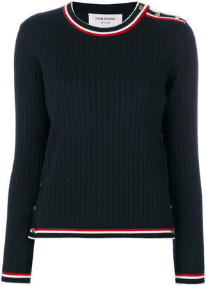 Thom Browne Rib Stitch Crew Neck Pullover With Shoulder Vent And Tipping In Fine Merino Wool