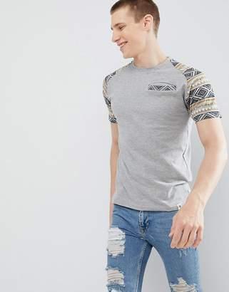 Soul Star Contrast Sleeve Print T-Shirt