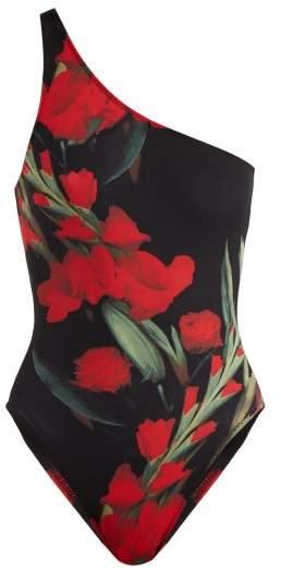 Mio Floral Print One Shoulder Swimsuit - Womens - Black Print