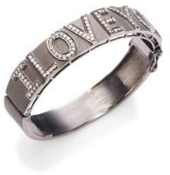 Silver & Champagne Diamond I Love You Bangle Bracelet