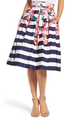 Women's Eliza J Floral Stripe Midi Skirt $148 thestylecure.com