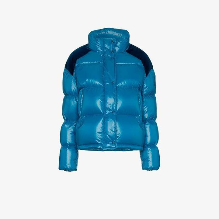 Chouette feather down and velvet puffer jacket
