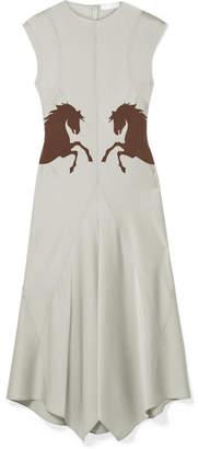 Chloé Asymmetric Silk-paneled Crepe Midi Dress - Gray green