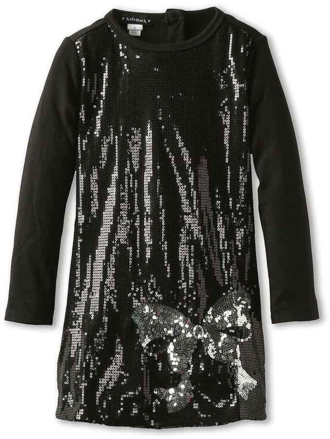 Kate Mack Bow Bling Sequin Dress (Little Kids) (Black) Girl's Dress