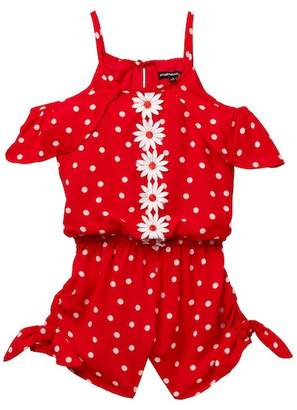 My Michelle mymichelle Polka Dot Off-the-Shoulder Romper (Big Girls)