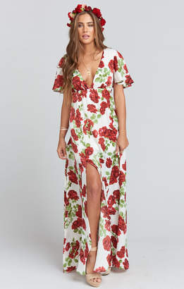 Show Me Your Mumu Faye Flutter Maxi Dress ~ Budding Rosemance Ivory
