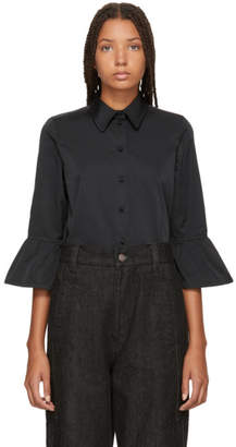 Marc Jacobs Black Ruffle Sleeve Shirt