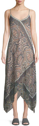 BCBGMAXAZRIA Paisley-Tile Handkerchief Maxi Dress