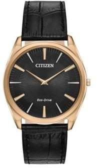 Citizen Eco-Drive Stainless Steel Black-Croc Leather Strap Watch