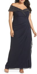 Xscape Evenings Beaded Off the Shoulder Gown