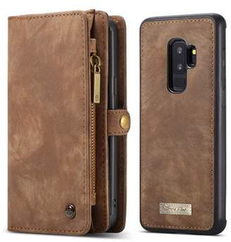 Samsung Dteck CaseMe For Galaxy S9 Plus Wallet Case,Handmade Cowhide Leather Large Capacity Detachable Zipper Wallet Cover