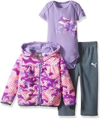 Puma Baby Girls' 3 Piece Hoodie, Bodysuit, Pant Set