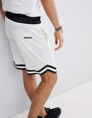 Mennace Basketball Sateen Shorts In White