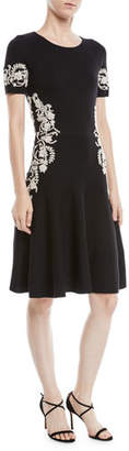 Oscar de la Renta Jewel-Neck Short-Sleeve Wool Knit Cocktail Dress w/ Lace Embroidery
