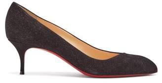 Christian Louboutin Corneille 55 Glitter Embellished Suede Pumps - Womens - Black