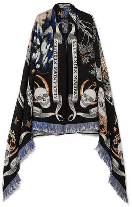 Alexander McQueen Night Fairy Embroidered Wool-blend Scarf - Black
