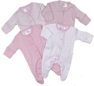 Tory Burch Baby Girls Ex Store Four Pack Sleepsuits Baby Grows To 18-24M Pretty s (0-1 Month)