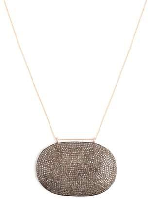 Lera Jewels Colossal Diamond Oval Pendant On Rose Gold Necklace