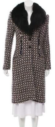 Ungaro Fur-Trimmed Tweed Coat