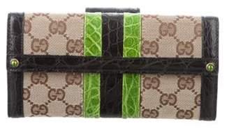Gucci Crocodile-Trimmed Web Wallet Beige Crocodile-Trimmed Web Wallet